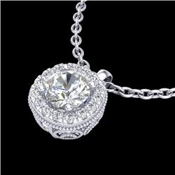 1.1 CTW VS/SI Diamond Solitaire Art Deco Stud Necklace 18K White Gold - REF-218M2F - 37121