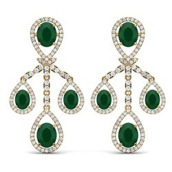 25.08 CTW Royalty Emerald & VS Diamond Earrings 18K Yellow Gold - REF-490X9T - 38573