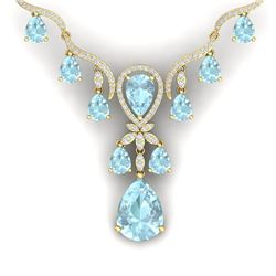 39.14 CTW Royalty Sky Topaz & VS Diamond Necklace 18K Yellow Gold - REF-618M2F - 38600
