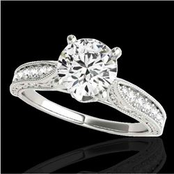 1.5 CTW H-SI/I Certified Diamond Solitaire Antique Ring 10K White Gold - REF-221M8F - 34729