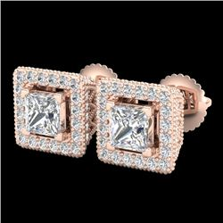 2.25 CTW Princess VS/SI Diamond Micro Pave Stud Earrings 18K Rose Gold - REF-272W8H - 37170