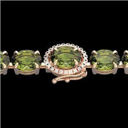 27 CTW Green Tourmaline & VS/SI Diamond Tennis Micro Halo Bracelet 14K Rose Gold - REF-243X5T - 2342