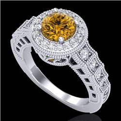 1.53 CTW Intense Fancy Yellow Diamond Engagement Art Deco Ring 18K White Gold - REF-263K6R - 37651