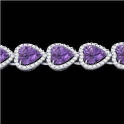 23 CTW Amethyst & Micro Pave Bracelet Heart Halo 14K White Gold - REF-378X5T - 22609