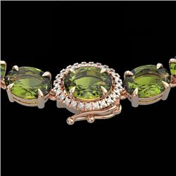 66 CTW Green Tourmaline & VS/SI Diamond Tennis Micro Halo Necklace 14K Rose Gold - REF-531T6X - 2346