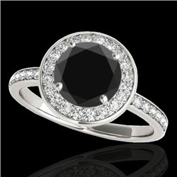 1.5 CTW Certified Vs Black Diamond Solitaire Halo Ring 10K White Gold - REF-74F9M - 34381