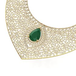 63.93 CTW Royalty Emerald & VS Diamond Necklace 18K Yellow Gold - REF-2690Y9N - 39572