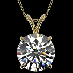 2.53 CTW Certified H-SI/I Quality Diamond Solitaire Necklace 10K Yellow Gold - REF-844T2X - 36820