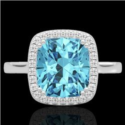3.50 CTW Sky Blue Topaz & Micro VS/SI Diamond Halo Solitaire Ring 18K White Gold - REF-48Y9N - 22852