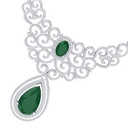 87.52 CTW Royalty Emerald & VS Diamond Necklace 18K White Gold - REF-2000R2K - 39836