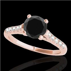 1.2 CTW Certified Vs Black Diamond Solitaire Ring 10K Rose Gold - REF-48F2M - 34974