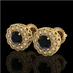 1.32 CTW Fancy Black Diamond Solitaire Art Deco Stud Earrings 18K Yellow Gold - REF-100K2R - 37837
