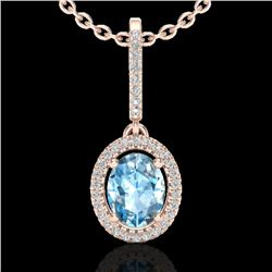 2 CTW Sky Blue Topaz & Micro VS/SI Diamond Necklace Halo 14K Rose Gold - REF-52X2T - 20652
