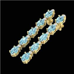 6 CTW Skt Blue Topaz & VS/SI Diamond Certified Tennis Earrings 10K Yellow Gold - REF-38W2H - 21516