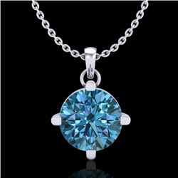 1 CTW Intense Blue Diamond Solitaire Art Deco Stud Necklace 18K White Gold - REF-154H5W - 38076