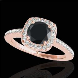 1.25 CTW Certified Vs Black Diamond Solitaire Halo Ring 10K Rose Gold - REF-58H8W - 33827