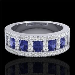 1.75 CTW Tanzanite & Micro Pave VS/SI Diamond Inspired Ring 10K White Gold - REF-64R4K - 20831