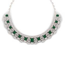 50.44 CTW Royalty Emerald & VS Diamond Necklace 18K Rose Gold - REF-1709N3Y - 39376