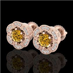 1.51 CTW Intense Fancy Yellow Diamond Art Deco Stud Earrings 18K Rose Gold - REF-178N2Y - 37967