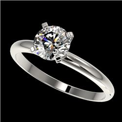 1 CTW Certified H-SI/I Quality Diamond Solitaire Engagement Ring 10K White Gold - REF-134X2T - 32884