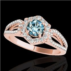 1.43 CTW SI Certified Fancy Blue Diamond Solitaire Halo Ring 10K Rose Gold - REF-176W4H - 34022