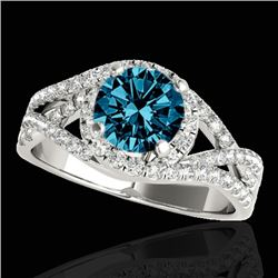 1.5 CTW SI Certified Fancy Blue Diamond Solitaire Halo Ring 2 Tone 10K White Gold - REF-178H2W - 338