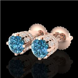 1.75 CTW Fancy Intense Blue Diamond Art Deco Stud Earrings 18K Rose Gold - REF-172F8M - 37356