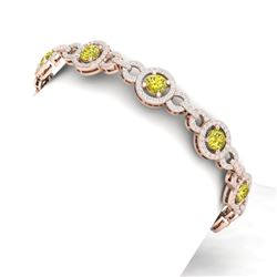 10 CTW Si/I Fancy Yellow And White Diamond Bracelet 18K Rose Gold - REF-886N4Y - 40092