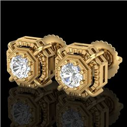 1.11 CTW VS/SI Diamond Solitaire Art Deco Stud Earrings 18K Yellow Gold - REF-218K2R - 36877