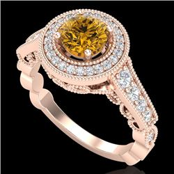 1.12 CTW Intense Fancy Yellow Diamond Engagement Art Deco Ring 18K Rose Gold - REF-167K3R - 37694