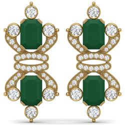 27.36 CTW Royalty Emerald & VS Diamond Earrings 18K Yellow Gold - REF-600N2Y - 38762