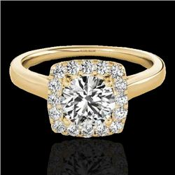 1.37 CTW H-SI/I Certified Diamond Solitaire Halo Ring 10K Yellow Gold - REF-167F3M - 33411