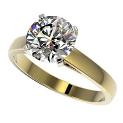 2.55 CTW Certified G-Si Quality Diamond Solitaire Ring 10K Yellow Gold - REF-854R2K - 36562