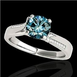 1.18 CTW SI Certified Fancy Blue Diamond Solitaire Ring 10K White Gold - REF-163H6W - 35287