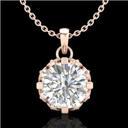 1.14 CTW VS/SI Diamond Solitaire Art Deco Stud Necklace 18K Rose Gold - REF-205H5W - 36843