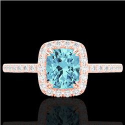 1.25 CTW Sky Blue Topaz & Micro Pave VS/SI Diamond Halo Ring 10K Rose Gold - REF-34N5Y - 22913