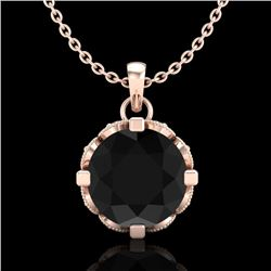 1.5 CTW Fancy Black Diamond Solitaire Art Deco Stud Necklace 18K Rose Gold - REF-89R3K - 37381