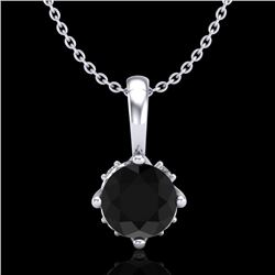 0.62 CTW Fancy Black Diamond Solitaire Art Deco Stud Necklace 18K White Gold - REF-56X4T - 37793