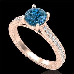 1.45 CTW Fancy Intense Blue Diamond Solitaire Art Deco Ring 18K Rose Gold - REF-209R3K - 37755