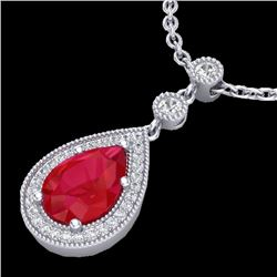 2.75 CTW Ruby & Micro Pave VS/SI Diamond Necklace Designer 18K White Gold - REF-52T8X - 23138