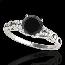 1.2 CTW Certified Vs Black Diamond Solitaire Ring 10K White Gold - REF-52M2F - 35253