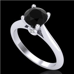 1.36 CTW Fancy Black Diamond Solitaire Engagement Art Deco Ring 18K White Gold - REF-89M3F - 38206