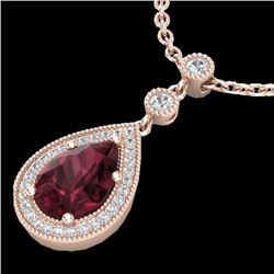 2.25 CTW Garnet & Micro VS/SI Diamond Certified Necklace Designer 14K Rose Gold - REF-40N9Y - 23136