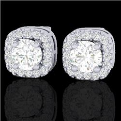 0.75 CTW Micro Pave VS/SI Diamond Earrings Designer Halo 18K White Gold - REF-69H6W - 21174