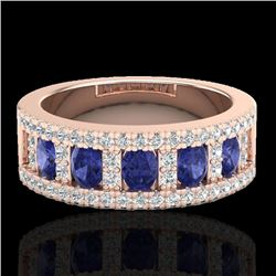 1.75 CTW Tanzanite & Micro Pave VS/SI Diamond Inspired Ring 10K Rose Gold - REF-64W4H - 20830