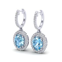 4.25 CTW Sky Blue Topaz & Micro VS/SI Diamond Earrings Halo 18K White Gold - REF-94N8Y - 20316