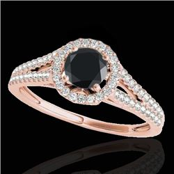 1.3 CTW Certified Vs Black Diamond Solitaire Halo Ring 10K Rose Gold - REF-64N9Y - 33886