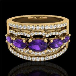 2.25 CTW Amethyst & Micro Pave VS/SI Diamond Certified Designer Ring 10K Yellow Gold - REF-66Y9N - 2