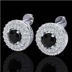 1.40 CTW Micro VS/SI Diamond Designer Earrings 18K White Gold - REF-84T9X - 20191