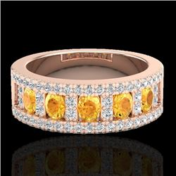 2 CTW Citrine & Micro VS/SI Diamond Certified Inspired Ring 10K Rose Gold - REF-60H2W - 20821